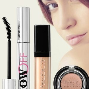 Makeup products and a woman's face with professional makeup